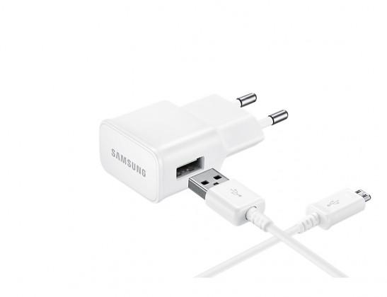 Síťové nabíječky Nabíječka Samsung 1xUSB 2A + kabel Micro USB, bílá