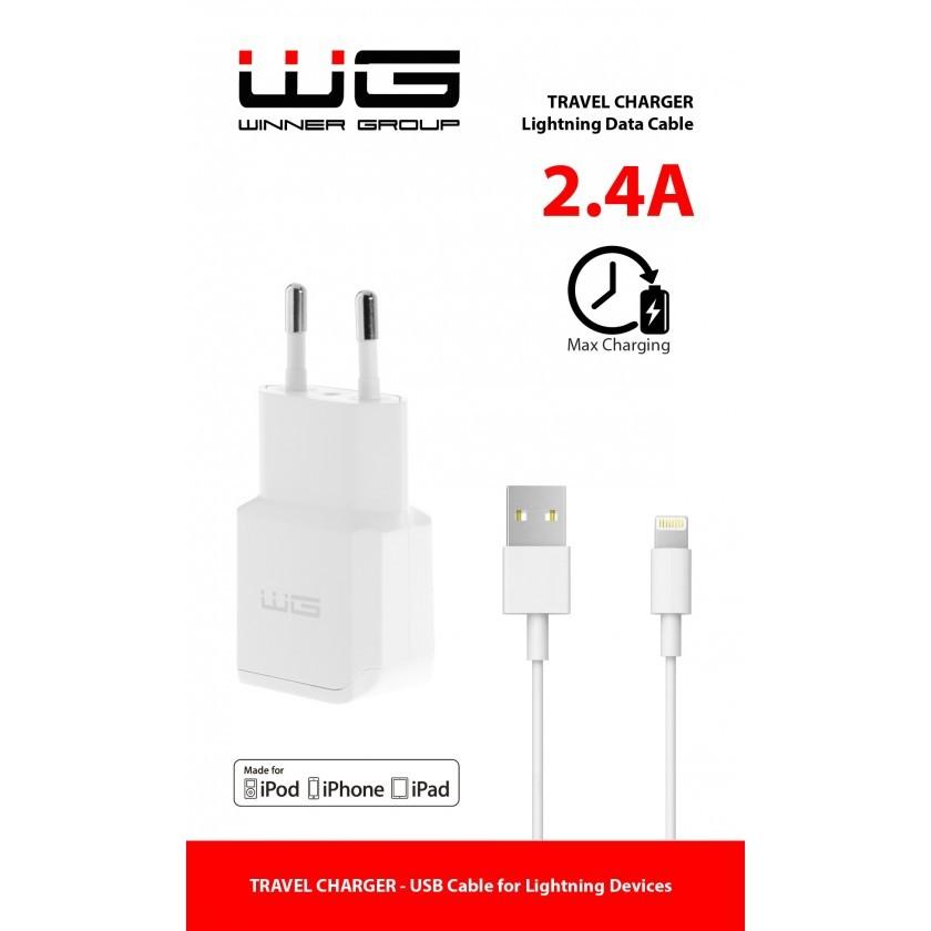 Síťové nabíječky Nabíječka WG 1xUSB 2,4A + kabel Lightning s MFI, bílá