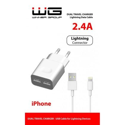 Síťové nabíječky Nabíječka WG 2xUSB 2,4A + kabel Lightning MFI, bílá