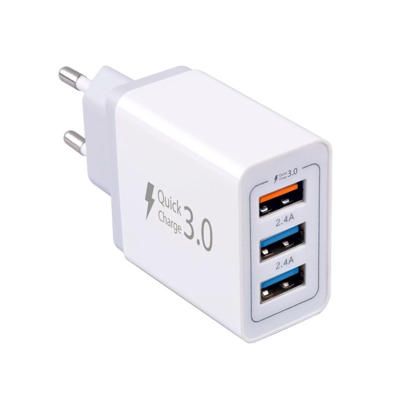 Síťové nabíječky Nabíječka WG 3xUSB 7,8A (2x 2,4A Fast charge + 1x 3A QC)