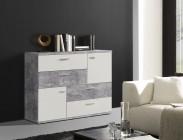 Skive - Komoda, 4x zásuvka + 2x dveře (světlý beton/bílá)