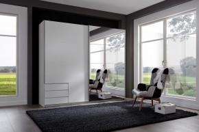 Skříň Seattle - 225/208/64 cm, posuvné dveře, 1x zrcadlo (bílá)