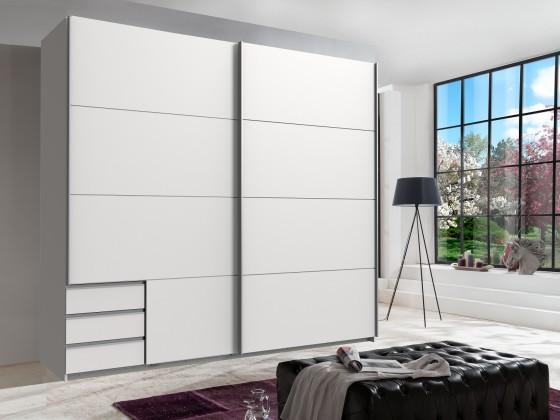 Skříň Seattle - 225/208/64 cm, posuvné dveře (bílá)