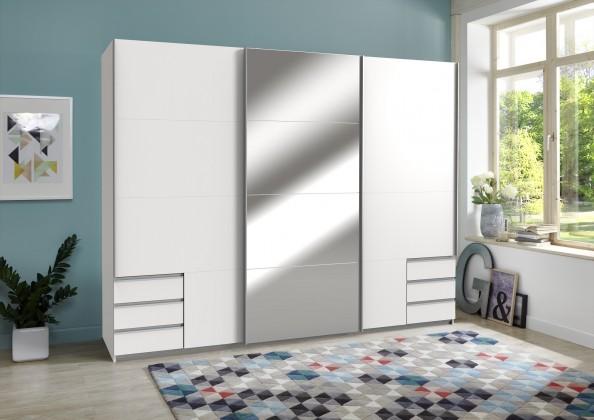 Skříň Seattle - 270/208/64 cm, posuvné dveře,1x zrcadlo (bílá)