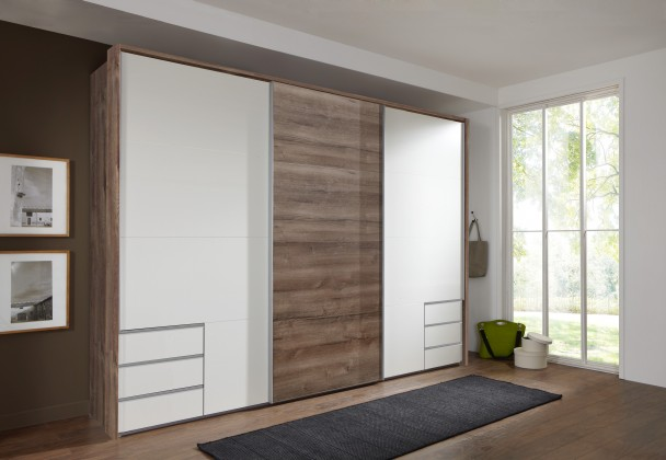 Skříň Seattle - 270/208/64 cm, posuvné dveře (bílá/dub muddy)