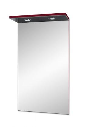 Skříňka nad umyvadlo Brisbane - zrcadlová skříň, s LED osvětlením (bordó)