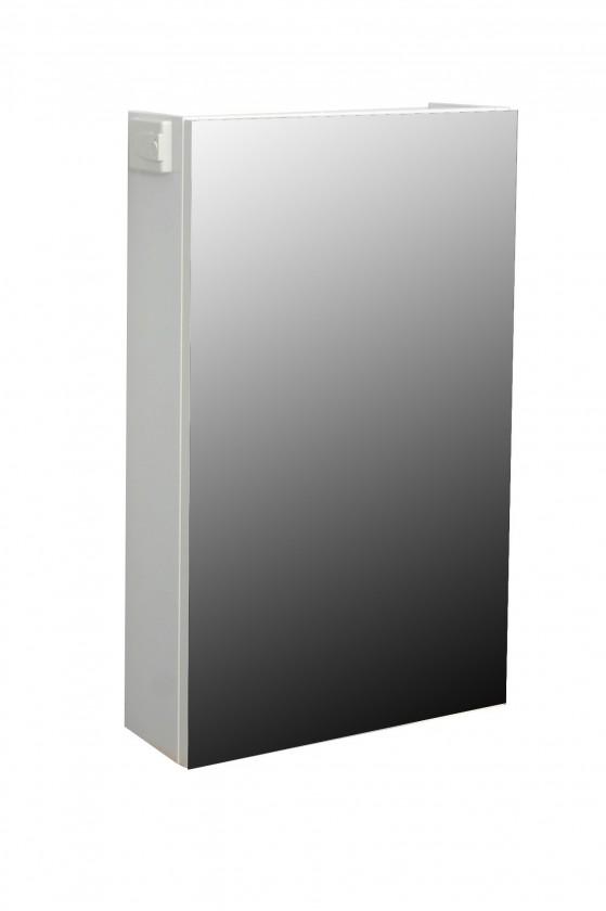 Skříňka nad umyvadlo Melbourne - Zrcadlová skříňka, panty vlevo (bílá/bílá)