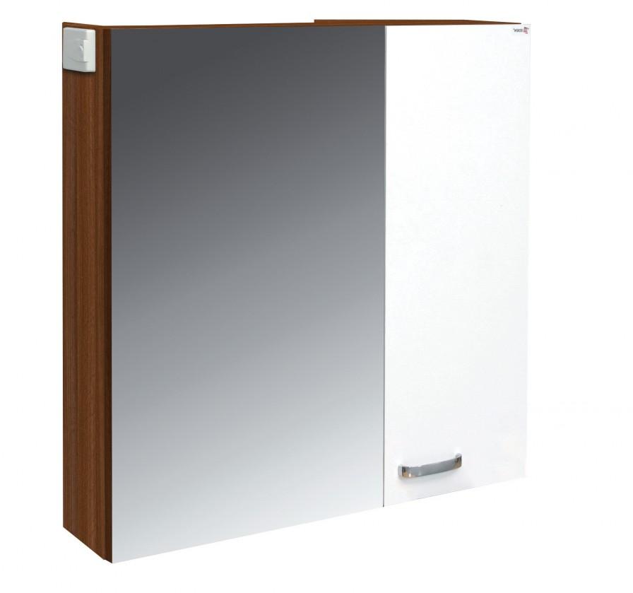 Skříňka nad umyvadlo Melbourne - Zrcadlová skříňka, zrcadlo vlevo (ořech/bílá)