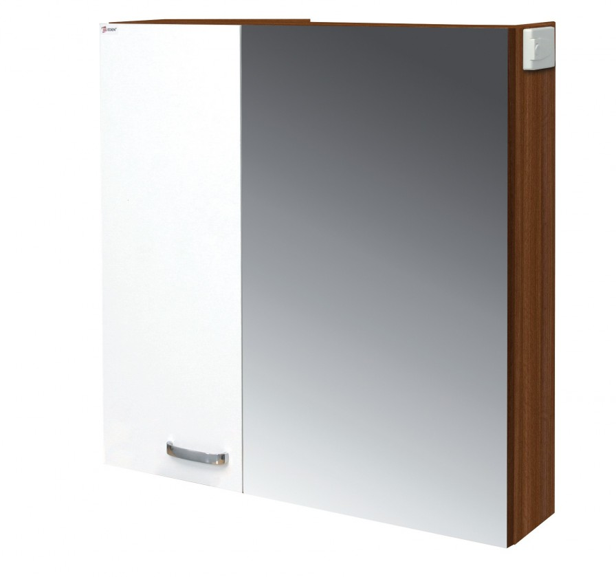 Skříňka nad umyvadlo Melbourne - Zrcadlová skříňka, zrcadlo vpravo (ořech/bílá)