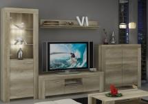 Sky - Obývací stěna, komoda, RTV stolek, světlo (country šedá)