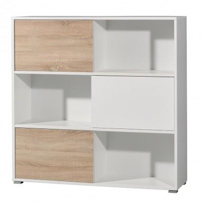 Slide - regál s posuvnými dveřmi, 119 cm (bílá/dub sonoma)
