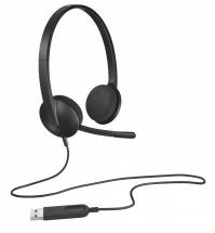 Sluchátka Logitech Corded H340, s mikrofonem, černá