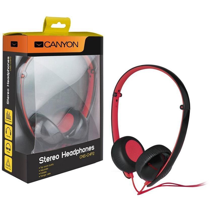 Sluchátka přes hlavu CANYON náhlavní sluchátka s trojhranným kabelem, černo červená
