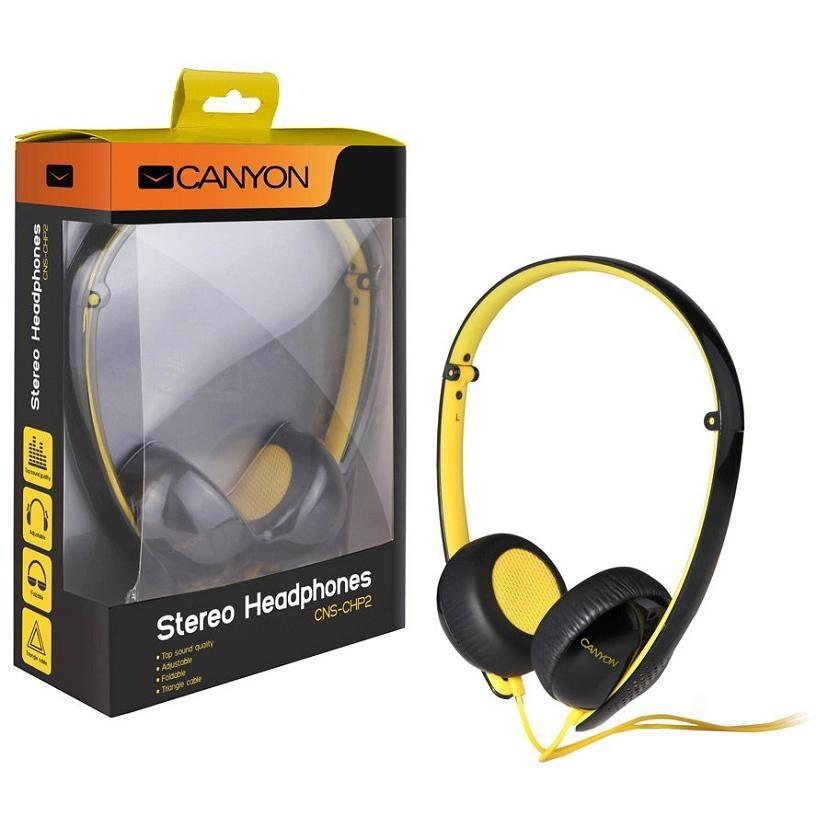 Sluchátka přes hlavu CANYON náhlavní sluchátka s trojhranným kabelem, černo žlutá