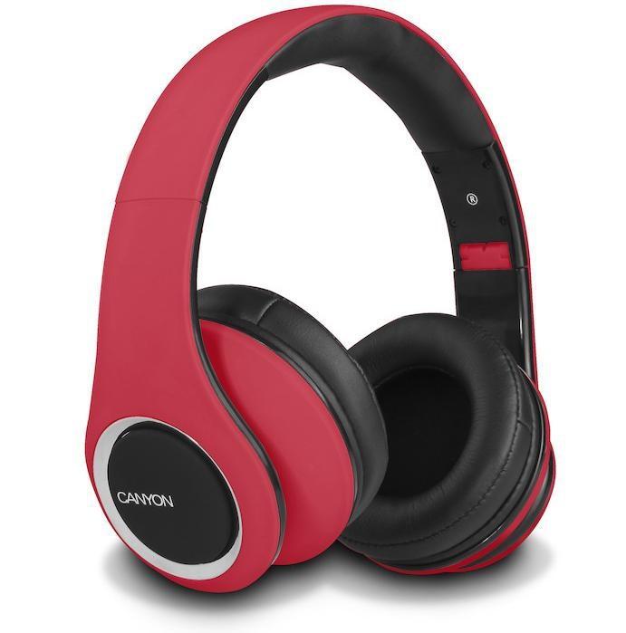 Sluchátka přes hlavu CANYON sluchátka stereo DJ, červená