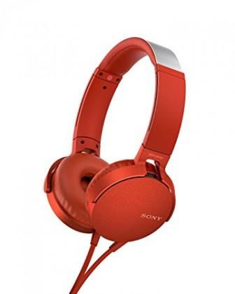 Sluchátka přes hlavu Sony MDR-XB550AP, červená MDRXB550APR.CE7