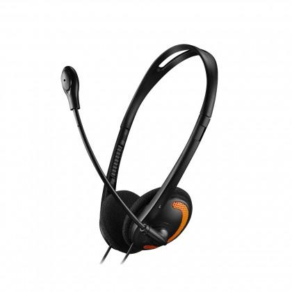 Sluchátka s mikrofonem Canyon CNS-CHS01BO, PC Headset, černo-oranžová