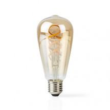 SMART LED žárovka Nedis WIFILT10GDST64, E27, 5,5W, filament,bílá
