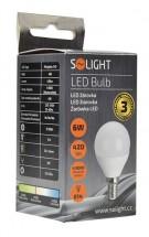 Solight LED žárovka,miniglobe,6W,E14,4000K,420lm,bílá