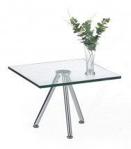 Solo - Konferenční stolek čtvercový, nižší (transp. sklo, chrom)