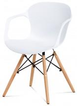 Sono - Jídelní židle s područkami (bílý plast/natural)