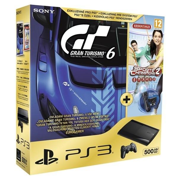Sony PlayStation 3 500GB + Gran Turismo 6 + Sport Champions 2 + 2x Move BAZAR