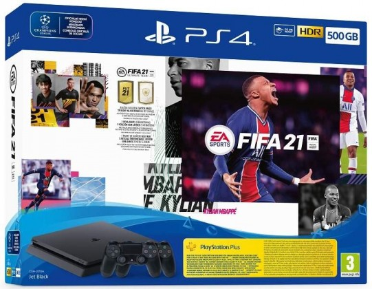 SONY PlayStation 4 500GB - černý + FIFA21 + 2x DualShock