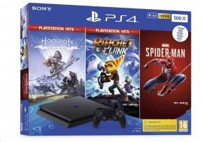SONY PlayStation 4 500GB F(HITS), černý + SPIDERMAN/HZN/R&C/