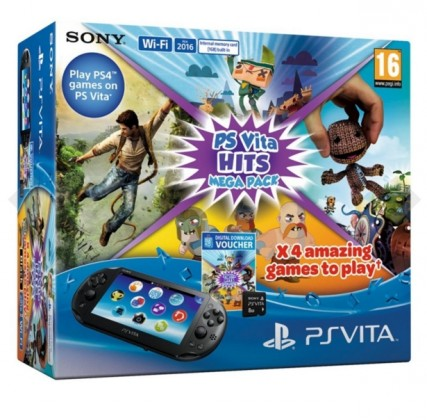 SONY PS Vita - WiFi - BLACK + Mega Pack Hits + 8GB