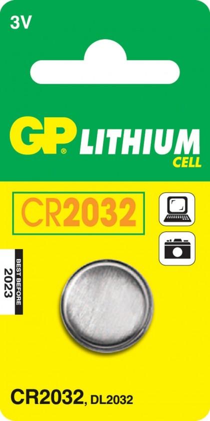 Speciální baterie Lithiová knoflíková baterie GP CR2032, 1 ks v blistru