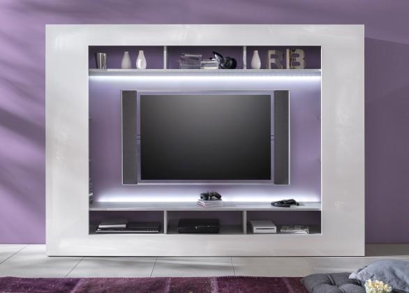 Speed - Obývací stěna (cementová šedá/bílá vysoký lesk)