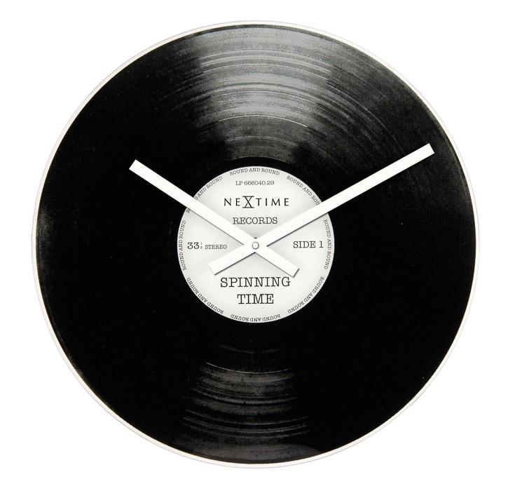 Spinning Time - hodiny, nástěnné, kulaté (sklo, nerez, černé)