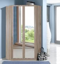 Sprint - rohová skříň,198 cm,2x zrcadlo (dub hrubá struktura)