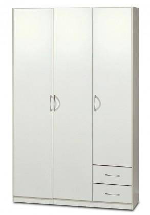 Sprint - skříň 135 cm,3x dveře,2x tyč,2x zásuvka (alpská bílá)