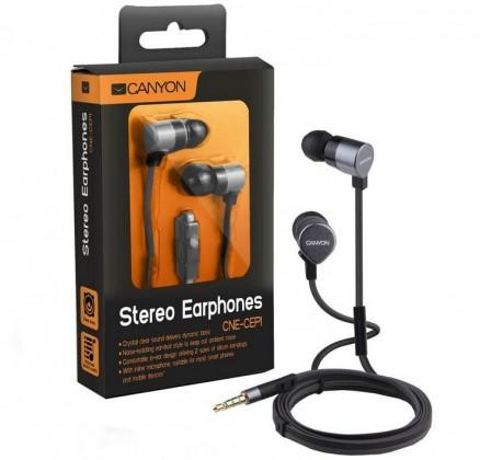 Špuntová sluchátka CANYON kovová sluchátka pecky do uší s mikrofonem, stříbrná