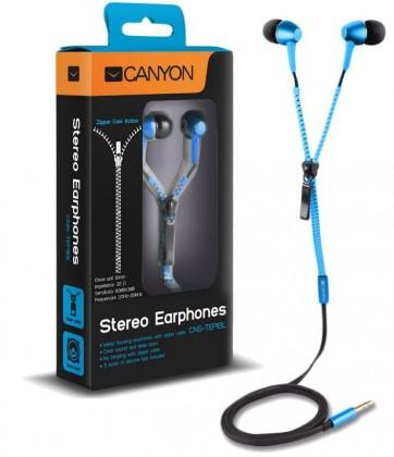Špuntová sluchátka CANYON sluchátka do uší se zipovým kabelem, modrá
