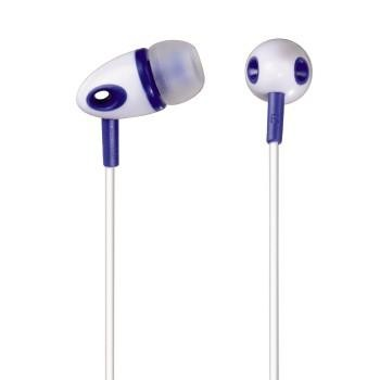 Špuntová sluchátka Sluchátka ME-293, silikonové špunty, bílá/modrá ROZBALENO