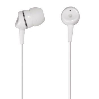 Špuntová sluchátka Sluchátka s mikrofonem HK-3050, silikonové špunty, bílá