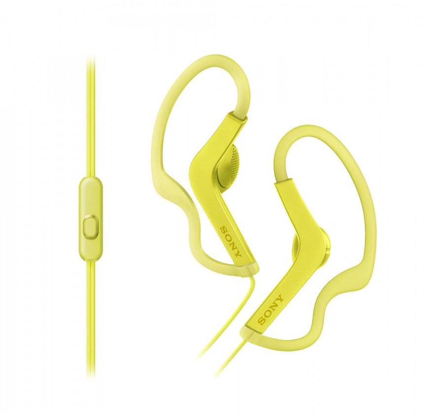 Špuntová sluchátka SONY sluchátka ACTIVE, handsfree, žluté, MDRAS210APY.CE7