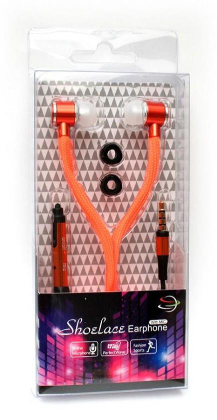 Špuntová sluchátka Špuntová sluchátka s mikr. 3,5mm JACK - oranžová ROZBALENO