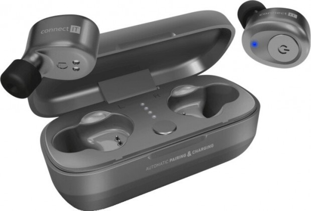 Špuntová sluchátka True Wireless sluchátka Connect IT CEP-9100-SL, stříbrná