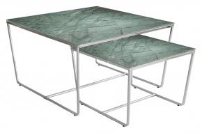 Stella - set 2 stolků, stohovatelné (chrom, zelená)