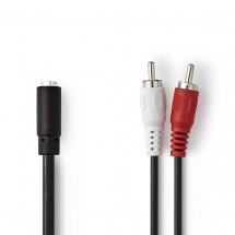 Stereofonní audio kabel 2x RCA zástrčka - 3,5mm zásuvka 0,2 m