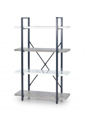 Stonno - regál nízký (bílá/beton)
