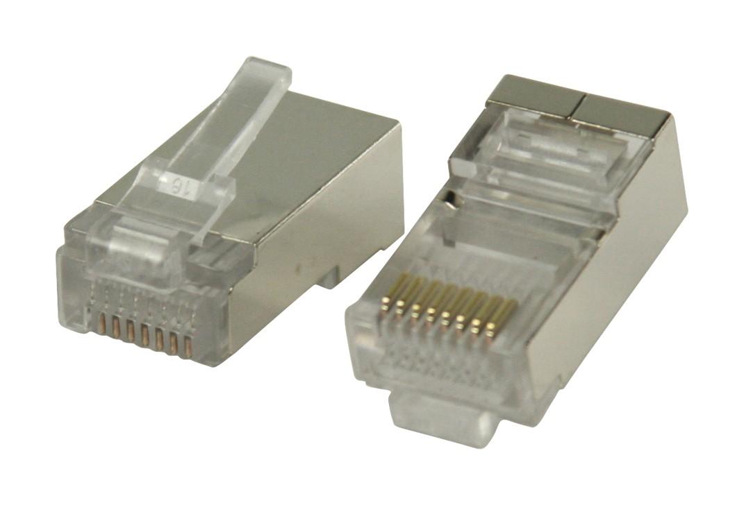 Strukturovaná kabeláž Konektory RJ45 pro STP CAT5 kab.sdrát.vodiči 10 ks