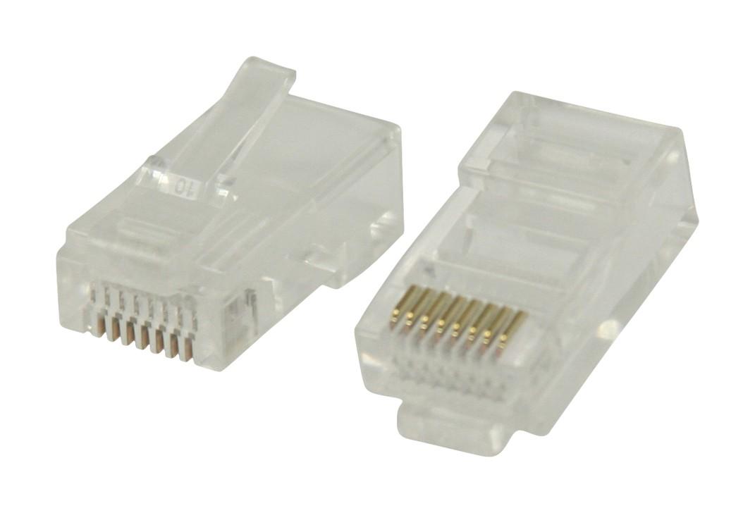Strukturovaná kabeláž Konektory RJ45 pro UTP CAT 5 kabely slankovými vodiči 10 ks
