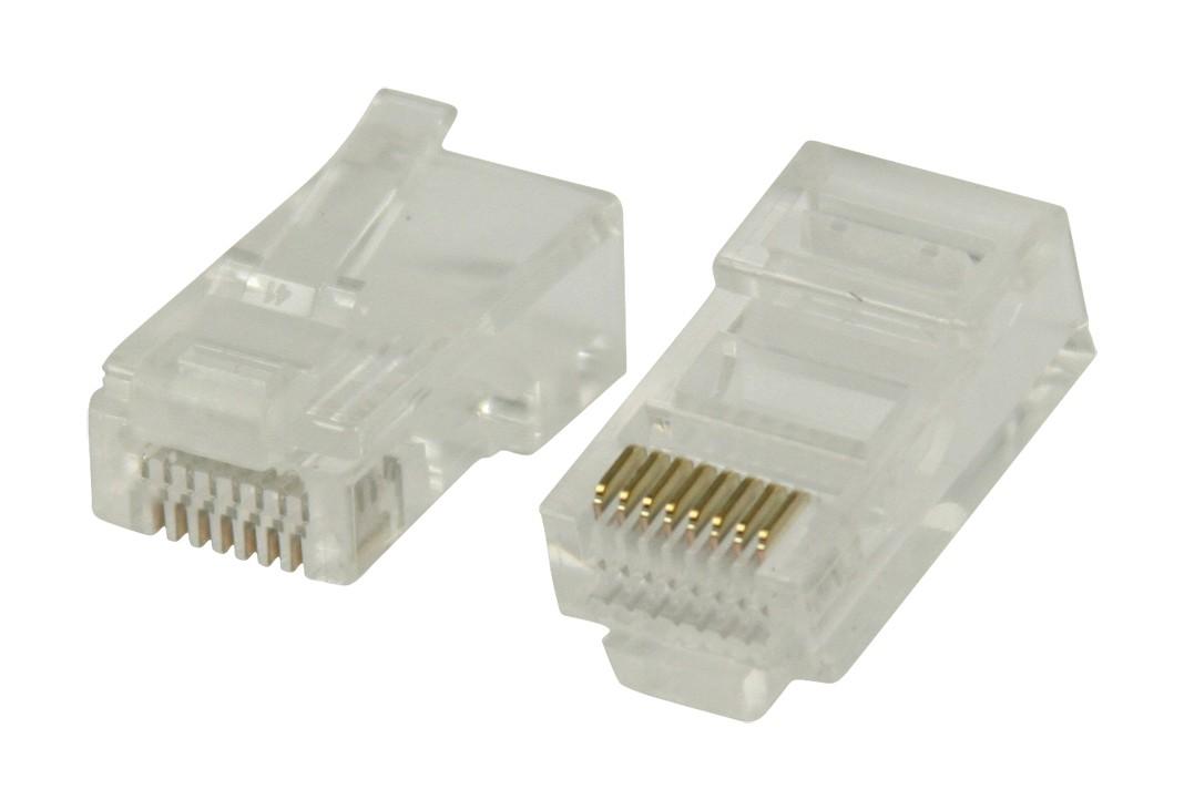 Strukturovaná kabeláž Konektory RJ45 pro UTP CAT5 kabely sdrátovými vodiči 10 ks