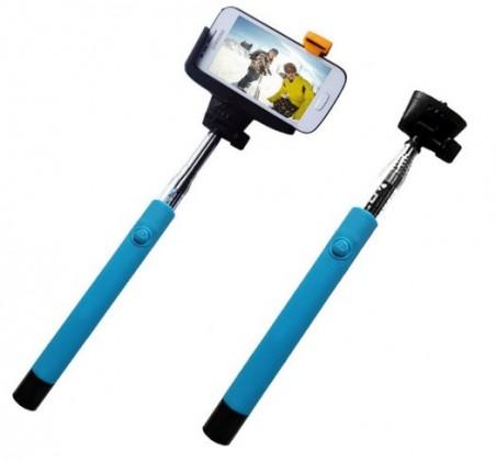 Stylusy a selfie držáky C-TECH Teleskopický selfie držák MP107G, Bluetooth, modrý