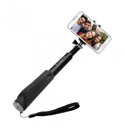 Stylusy a selfie držáky Teleskopická selfie tyč FIXED s BT spouští, černá ROZBALENO