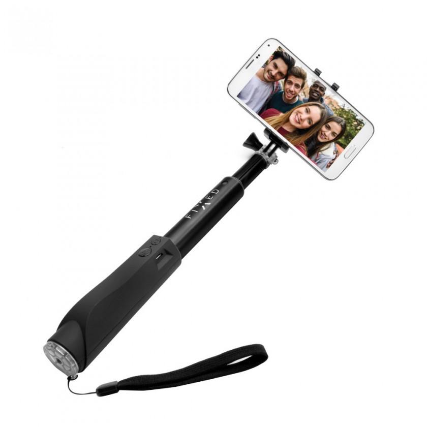 Stylusy a selfie držáky Teleskopická selfie tyč FIXED s BT spouští, černá